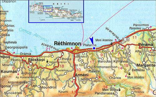 Platanias: Site Map